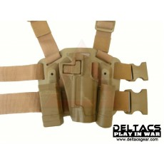 Deltacs CQC Drop leg Tactical Holster w/Magazine & Light Case for 1911 - Tan